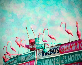 Flamingos Photography Art Print, Pink Flamingo Circus Art, Pink and Turquoise Design, Sign Photo Art, Flamingo Sign Art, Flamingo Wall Decor