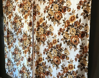 JC Penny Vintage Curtain Panels Brown Yellow Green White Cream Floral Window Treatment