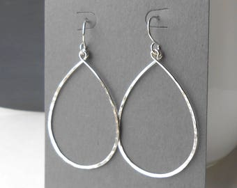 Large Sterling Silver Hoop Earrings, Thin Silver Teardrop Dangle Hoops, Wire Jewelry