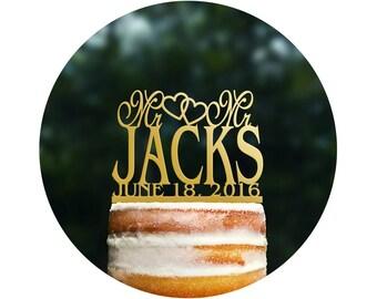 Mr And Mr Custom Cake Topper Acrylic Cake Topper Monogram Cake Topper LGBTQ Commitment Ceremony Engagement Gift Heart Surname Topper (T025)