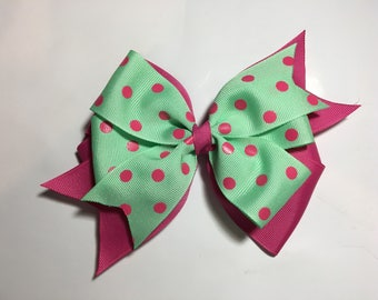 Cute pink and green stacked hair bow