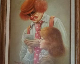Hoppin Rare Clown with Little Girl Painting #32