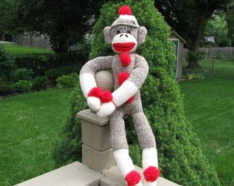 Classic Brown Sock Monkey Doll Handmade BopBo the Monkey