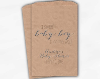 Sweet Baby Boy On The Way Baby Shower Candy Buffet Treat Bags - Set of 25 Baby Blue Personalized Kraft Paper Favor Bags (0181)