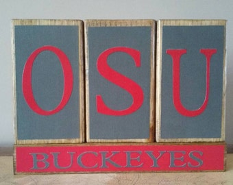 Ohio State Wood Block Sign