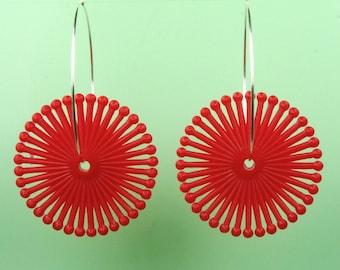 Vintage Red Spiral Lucite Hoop Earrings