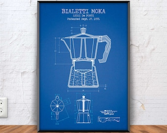 BIALETTI MOKA poster, bialetti moka patent print, bialetti moka blueprint, bar decor, pub illustration, coffee printable, espresso, #1324