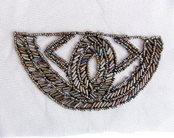 2PCS.Bugle Beads Epaulet/Shoulder Pads/Beaded Patch/Costume Embellishment/beaded shoulder pads/melange bead epaulet