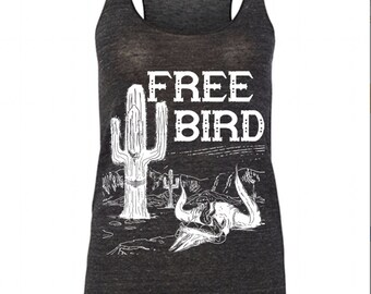 Womens Gypsy Desert FREE BIRD the label logo tribal boho Tri Blend Tank Top American Alternative Apparel Gray Black S M L XL