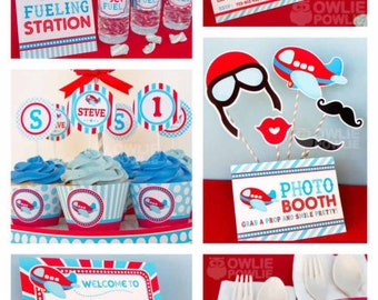 Airplane BIRTHDAY Party Printable Package & Invitation, INSTANT DOWNLOAD, You Edit Yourself with Adobe Reader