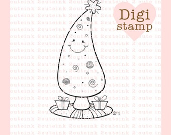 Holiday Tree Digital Stamp for Card Making, Paper Crafts, Scrapbooking, Hand Embroidery, Invitations, Stickers, Coloring Pages