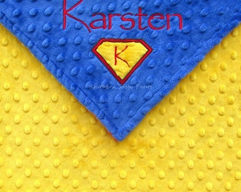 Superman Inspired Baby Blanket , Personalized Name Custom Embroidered Blanket for Boys , Super Hero Minky Blanket for Toddler Boy , 36x40