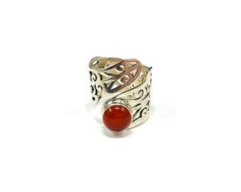 Silver Filigree Carnelian Wrap Statement Ring Jewelry Boho Chic Hippie Bohemian Adjustable