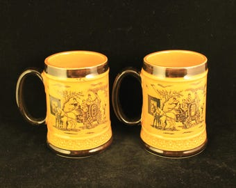 Vintage Pair Horse and Carriage Ceramic Tankard Mugs
