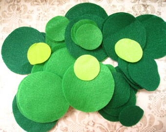 50 pcs Destash Felt Circles in Green Tones like Neon Green, Apple Green, Hunter Green