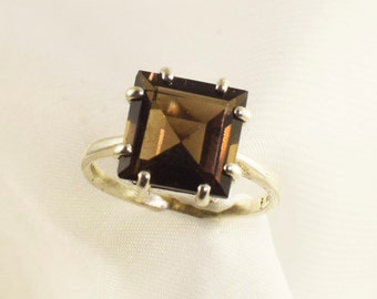 Smokey Quartz Ring, Genuine Gemstone 10mm Square, Set in 925 Sterling Silver Solitaire Ring