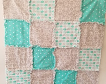 Teal and Gray Elephants and Clouds Baby Rag Quilt Blanket
