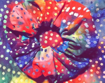 Rainbow tie-dye scrunchie
