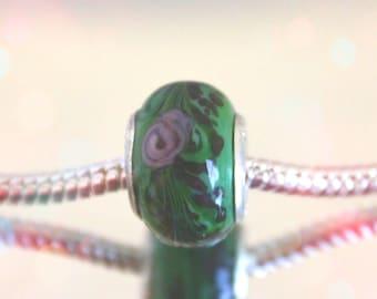 European Dark Green Floral Glass Bead