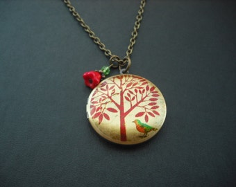 Locket Necklace, Antique Brass Locket Necklace with Bird Under the Tree  Photo Altered Locket