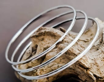 Classic Set of 3 Sterling Silver Bangles, Hammered Bangle, Stacking Handmade Bangle, Patterned Boho Bangle, Recycled Eco Friendly Silver