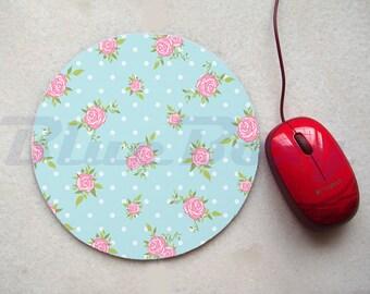 Light Blue Pink Rose Mousepad, Office Mousepad, Computer Mouse Pad, Fabric Mousepad