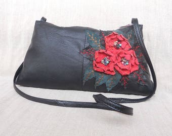 Black leather bag with red roses and natural stones,bag  long handle,gift for woman,bag for her,bag with flowers and coral,precious stone