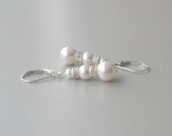 White Pearl Bridal Earrings, Pearl and Sterling Drop Earrings, Bridesmaid Gift, Pearl and Crystal Earrings, Pearl Dangle Leverback Earrings