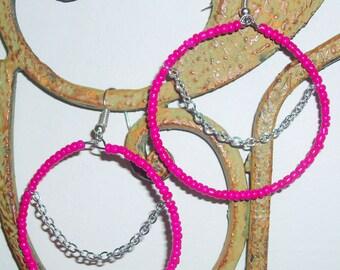 Pink Seed Bead Hoop Earrings