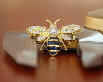 Genuine Blue Sapphire Diamond Bee Brooch/Pin 14K Yellow Gold [I_026]