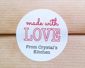 Customized Made With Love Labels - Personalized round labels - Baked goods stickers - Favor stickers for handmade gifts (L-01)