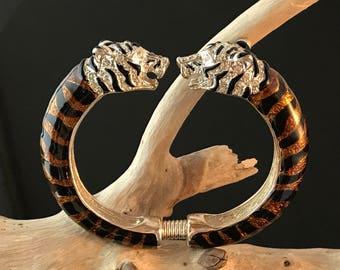 Vintage Silvertone Enamel Rhinestone Tiger Clamp Bangle Bracelet by Chicos