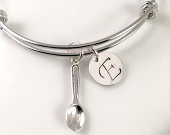 Spoon Charm Bracelet, Silver charm bracelet, Personalized Spoon bracelet,  Bangle Bracelet, Spoon Charm bracelet, adjustable bangle