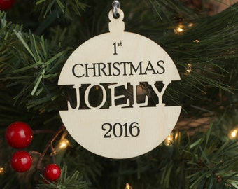 Babies First Christmas Ornament - Personalized Wood Christmas Ornament - Baby Shower Gift Custom Ornament