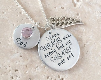 Personalized Memorial Necklace, Your Wings Were Ready, Memorial Jewelry, Loss Jewelry, Memorial Gift, Sympathy Necklace, Sympathy Gifts,