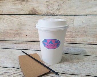 Batman or Wonder Woman Gender Reveal Coffee Cups with Lid Stir Stick Straw and Hot Sleeve- Super Hero Gender Reveal Coffee Cups - Pink Blue