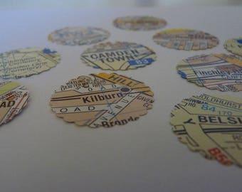 London locations - map circle stickers or envelope seals OOAK 38mm diameter