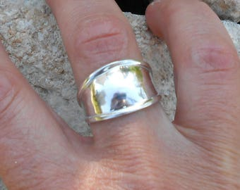 Silver 950 curved ring, ring, custom, women gift ring, anniversary ring