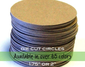 """20 Circle Tags in Kraft or ANY Cardstock Color . 1.75"""" or 2"""" diameter"""