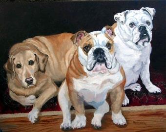 Custom Dog Portrait Oil Painting, Pet Portrait, Full of Personality, Original Oil on Canvas Animal Art