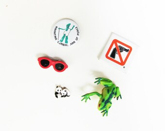 Political Pin Collection, 1980s Funky Pins, Fun Plastic Jewelry