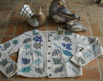 Sigrid Olsen fall cardigan size Medium, oatmeal color with embroidered fall leafs, Hand Knit, soft Ramie, cotton and polyester