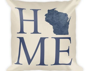 Wisconsin Pillow, Wisconsin Gifts, Wisconsin Decor, Wisconsin Home, Wisconsin Throw Pillow, Wisconsin Art, Map, Made, Cushion, State