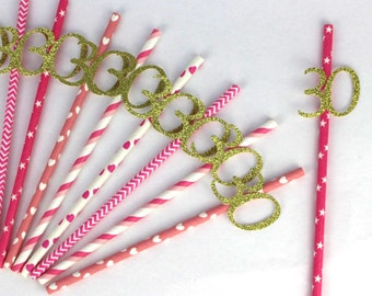 30th Birthday Party Straws - Glittery Gold and Hot Pink - 30th Party Decor