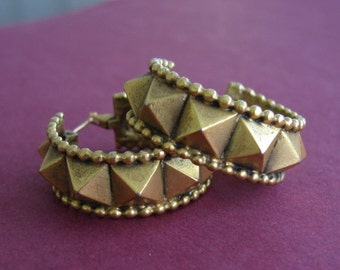 Vintage Bronze Brass Pryamid Spiked Classic Wide Hoops