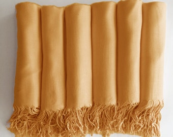 Pashmina shawl in Goldenrod Yellow Gold - Bridesmaid Gift, Wedding Favor - Monogrammable - sorority