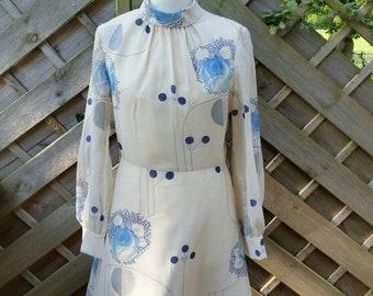 70s funnel neck summer dress floral wedding guest