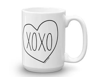 XOXO Hugs and Kisses Double Print Mug, Valentine's Mug, Printed and Made in the USA