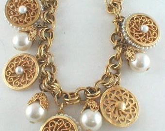 Vintage Gold Tone Faux Pearl Charm Bracelet UNUSED
