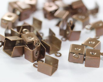 50 Pcs Antique Copper Leather Crimp Ends with Hole 7,5x11mm, Cord Ends, End Cord. Crimp End, Cord tip , Crimp End Findings,